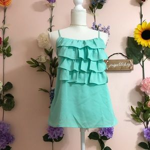 Forever21 mint green ruffle tank top